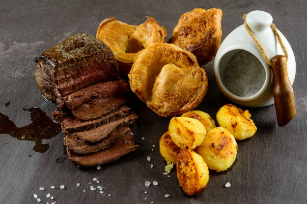 Roast Beef, Gluten Free, Grain Free Yorkshire Puddings and Roast Potatoes. Photography © Sue Todd Photography