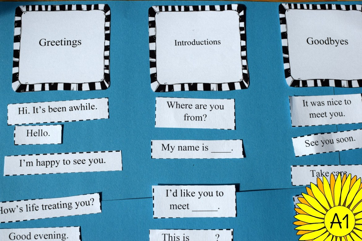 A Sorting Activity For Greetings Introductions And Good Byes