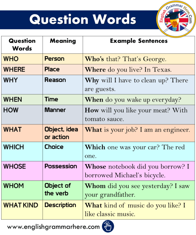 Question Words, Definitions and Example Sentences - English