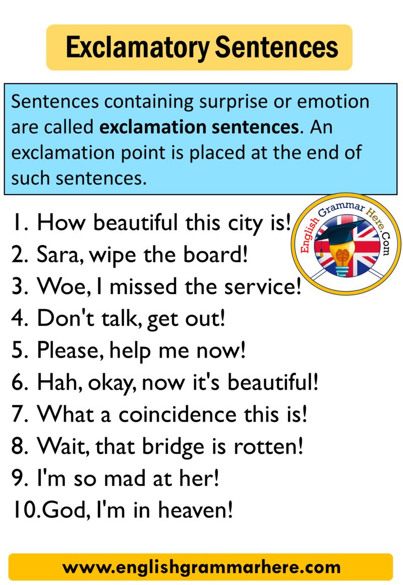 medium resolution of Exclamatory Sentence 10 Examples - English Grammar Here
