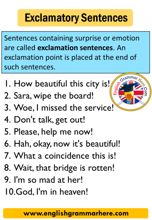small resolution of Exclamatory Sentence 10 Examples - English Grammar Here