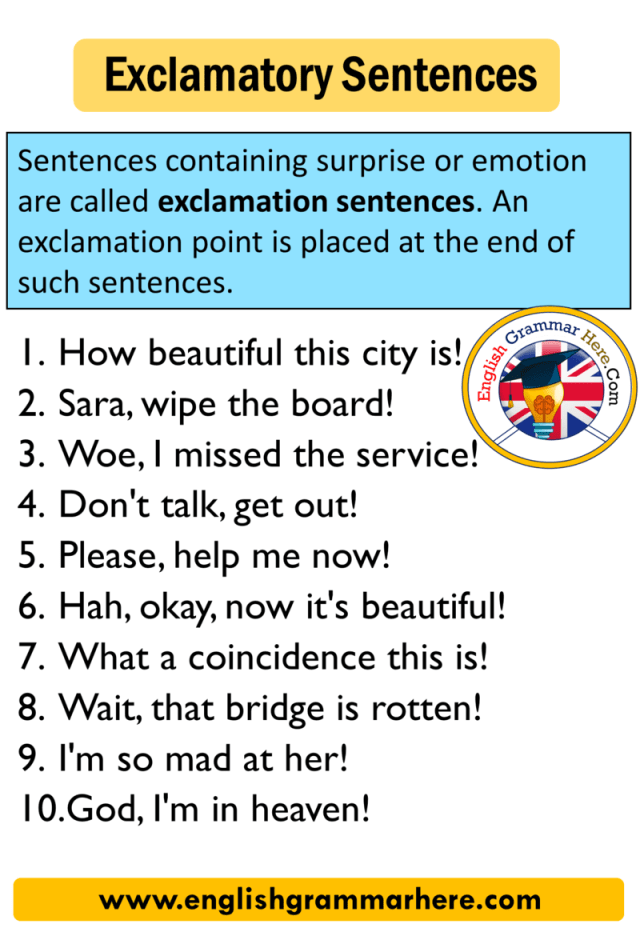 Exclamatory Sentence 21 Examples - English Grammar Here