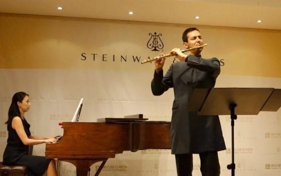Davide Formisano performs Gaubert's Nocturne et allegro scherzando and Dutilleux's Sonatine with pianist Jung Min-jeong.(Image: Charles Ian Chun)