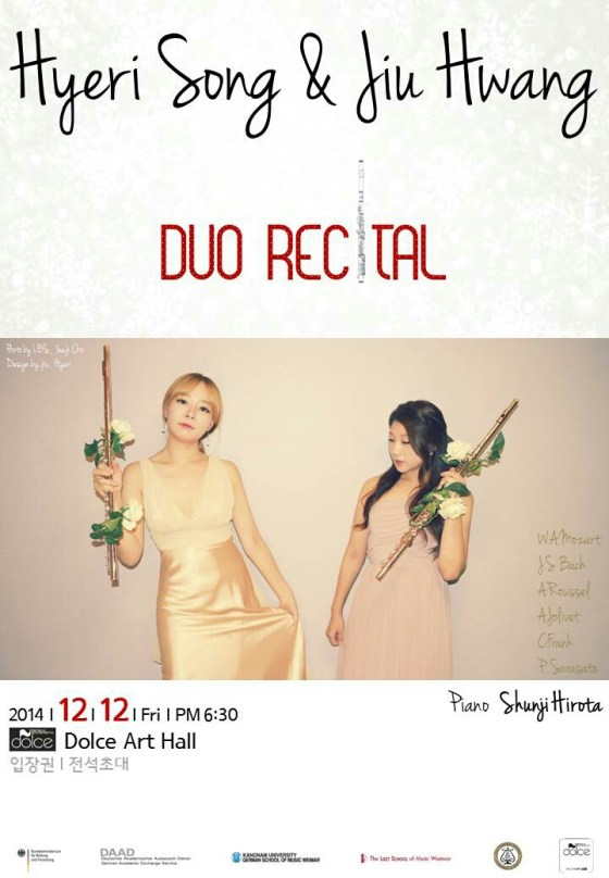 Hyeri Song & Jiu Hwang Duo Recital, Dolce Art Hall, Seoul. 12 December 2014.