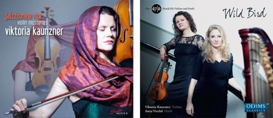 In spring 2015 German School of Music violin professor Viktoria Kaunzner released two CDs: Ja(zz)smine Rice: Violin Mysteries (Solo Musica Label, Munich) and Wild Bird with harpist Anna Viechtl (Oehms Classics).