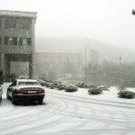 Main Building, Heavy snow falls on Kangnam University's campus (PHOTO: Charles Ian Chun)