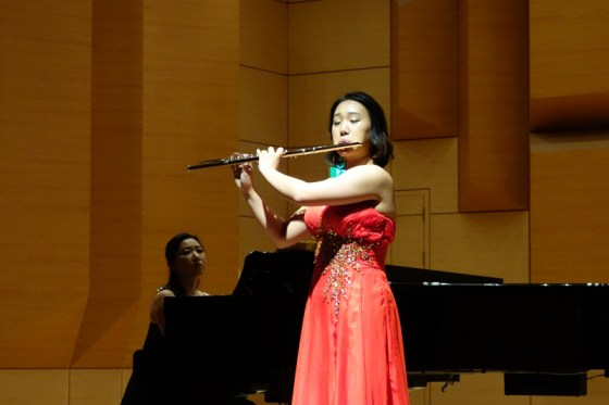 Student Bang Sun-hye performs Borne's Carmen Fantasy for Flute and Piano at the Kangnam University Department of Music 2013 Graduation Orchestral Concert, Heo Eun-yeol (piano), 14 Nov 2013. (Photo: Charles Ian Chun)