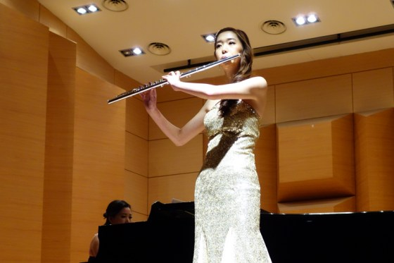 Student Yoo Soo-jung performs Martin's Ballade pour flute et piano at the Kangnam University Department of Music 2013 Graduation Orchestral Concert, Heo Eun-yeol (piano) 14 Nov 2013. (Photo: Charles Ian Chun)