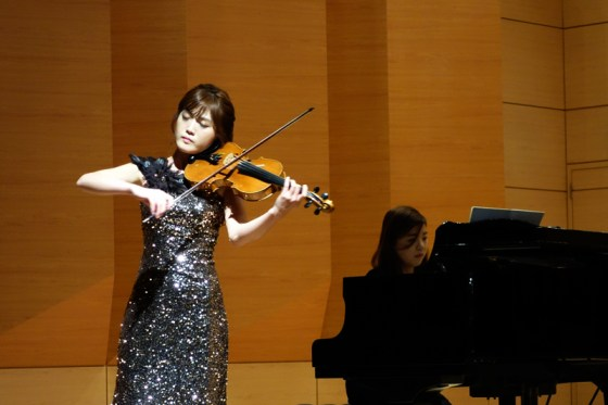 Student Kim Ui-in performs Vitali's Chaconne in G minor at the Kangnam University Department of Music 2013 Graduation Orchestral Concert, Lee Su-gyung (piano), 14 Nov 2013. (Photo: Charles Ian Chun)
