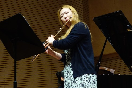 GSMW 4th-year student Hyelim Lim performs Martinu's Sonate for Flute and Piano. (Photo: Charles Ian Chun)