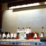 "KNU Amici perform ""Shout His Glory"" (영광 외치리라) at the Kangnam University Faculty Worship Service. (Photo: Charles Ian Chun)"