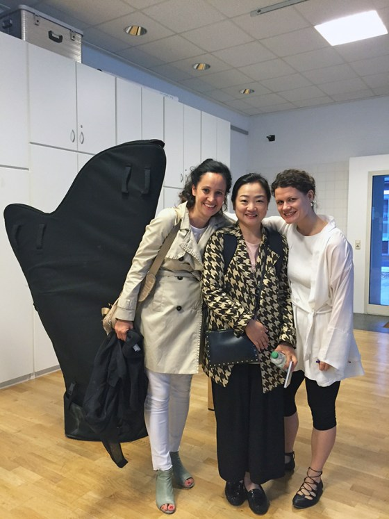 (from left) Prof. Florence Sitruk of Music University Geneve, Prof. Ja Young Choi of Kangnam University's Dept. of Music, and Prof. Viktoria Kaunzner of the German School of Music after a composers colloquium at Carl-Ossietzky-University Oldenburg organized by Prof. Violeta Dinescu. Photo courtesy of Viktoria Kaunzner.
