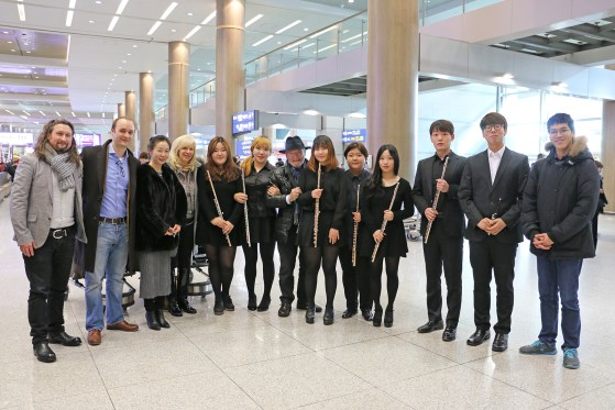 Flute students welcome the Galways to Korea