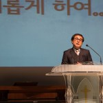 "Theology professor Yong-gi Baek delivers his sermon ""A New Heart"" at Kangnam University's morning faculty service (first Wednesday of each month) in Wooweon Hall. Photo: Charles Ian Chun"