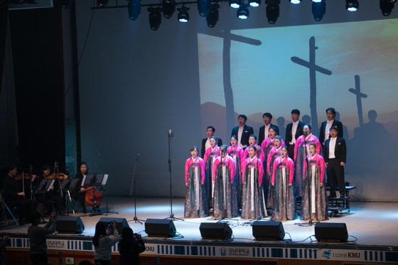 Vocal ensemble KNU Amici deliver touching renditions of popular spirituals at Kangnam University's 70th anniversary celebration. (Photo: Charles Ian Chun)