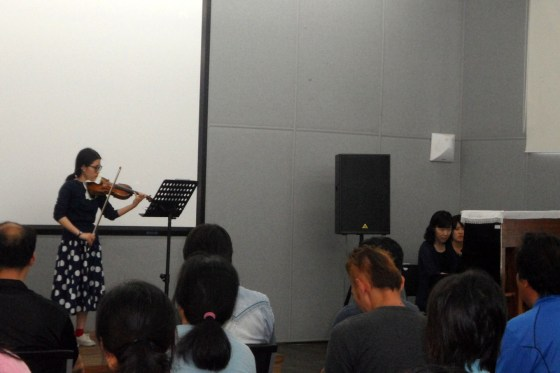 Students of Professor Viktoria Kaunzner of the German School of Music Weimar at Kangnam University perform for residents of the Sarangbat Mental Health Rehabilitation Center. (PHOTO: Sarangbat)