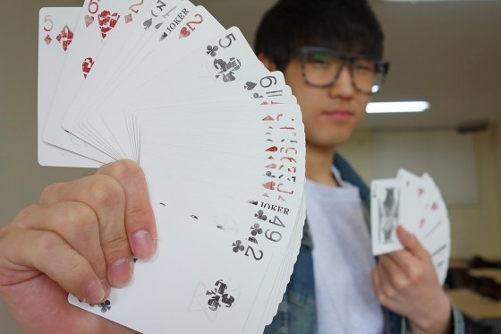 1st-year English Literature student and amateur magician Jeon Hyun Woo (Photo: Charles Ian Chun)