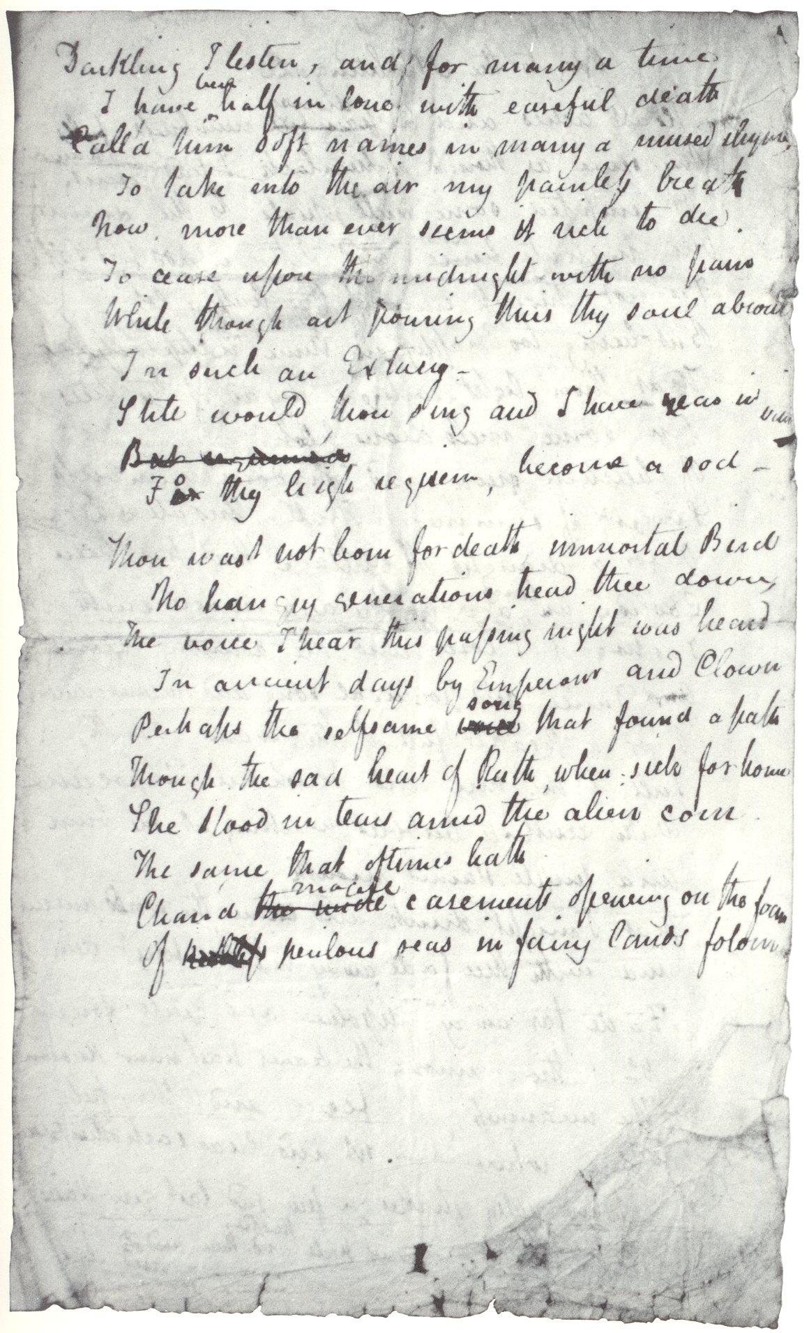 John Keats Original Manuscripts Of Poetry  Letters