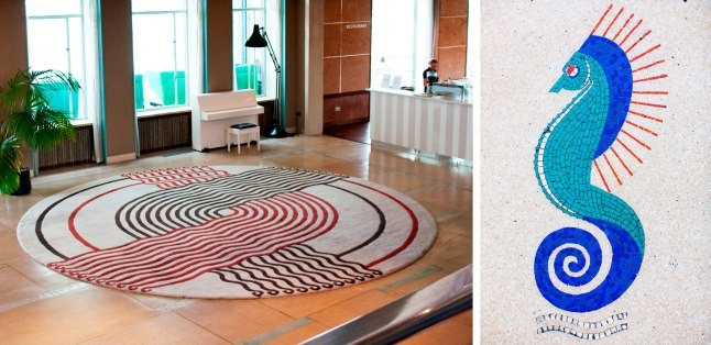 Left: Replica Marion Dorn rugs. Right: Original seahorse floor mosaic