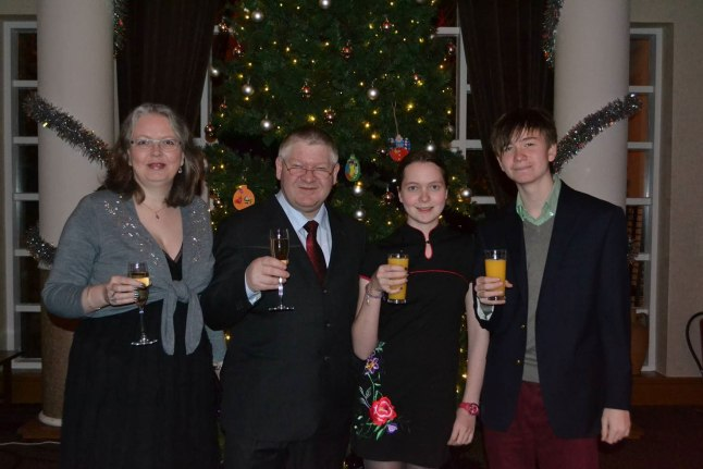 Celebrating by the Christmas Tree at Low Wood Bay