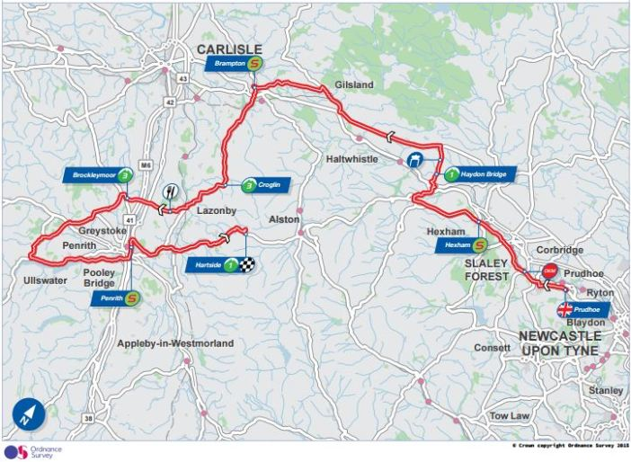 Tour of Britain Route Map, Stage 5. Photo Credit: Tour of Britain