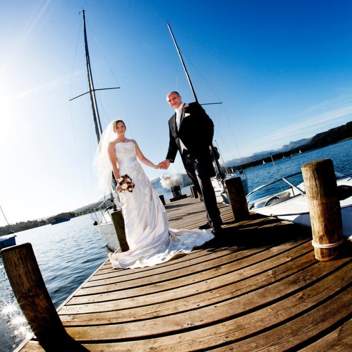 Gemma, Wedding & Events Manager and Nevil, General Manager at Low Wood Bay - married at the Lake District hotel where they met and work.