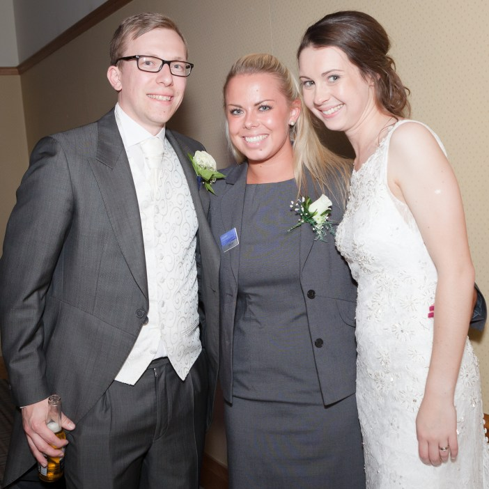 James and Emma with our wedding co-ordinator Lauren on their big day.