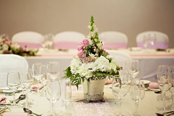 Beautiful wedding table flowers at Lancaster House