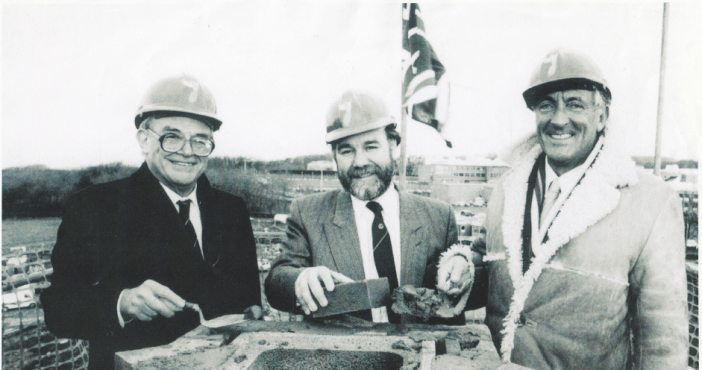 Topping off ceremony at Lancaster House. Michael Berry on right.