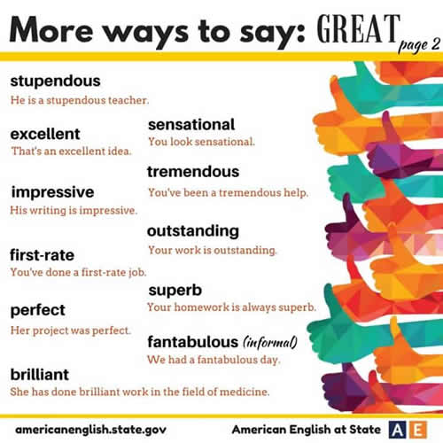More Ways To Say Great  Speaking Study