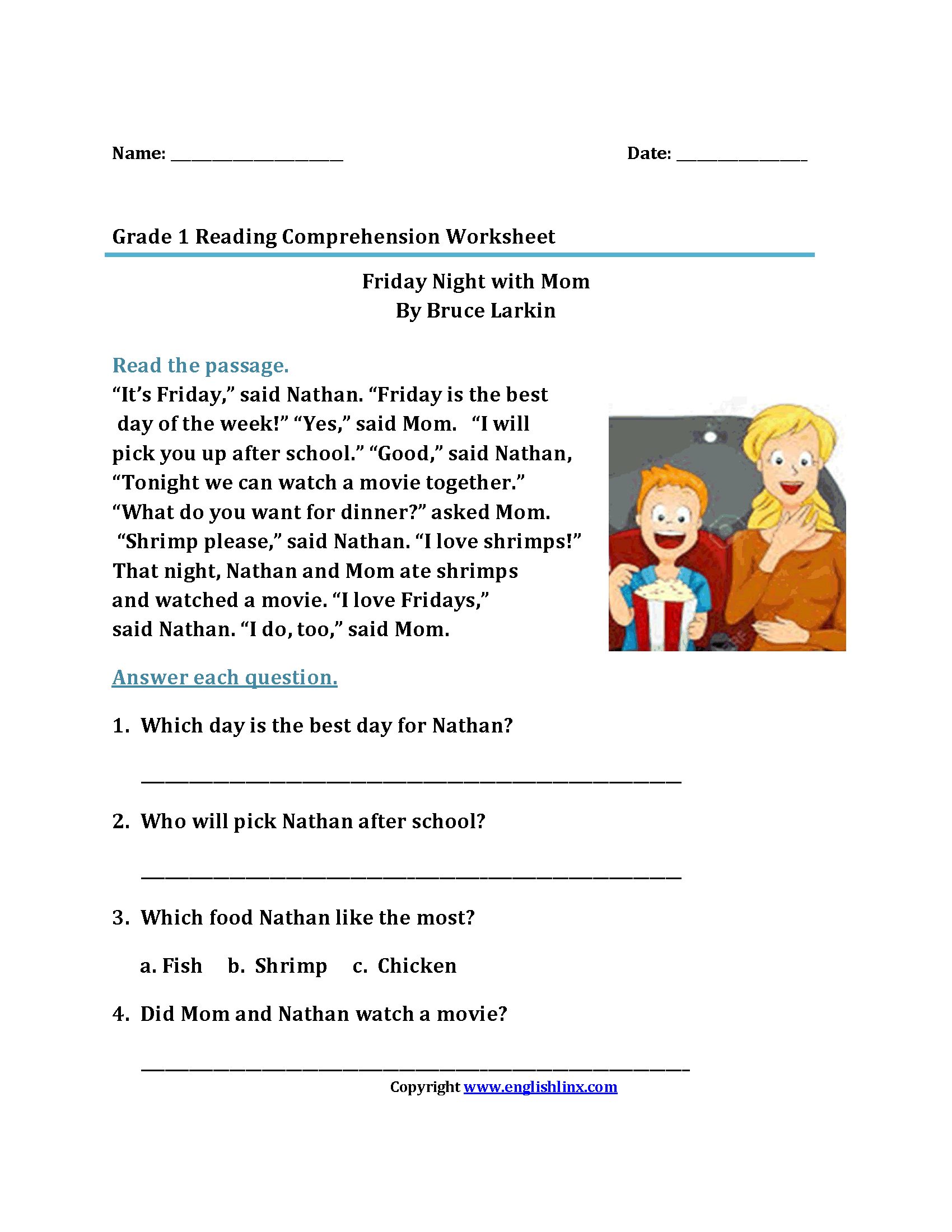 Worksheet Reading Worksheets 1st Grade Thedanks