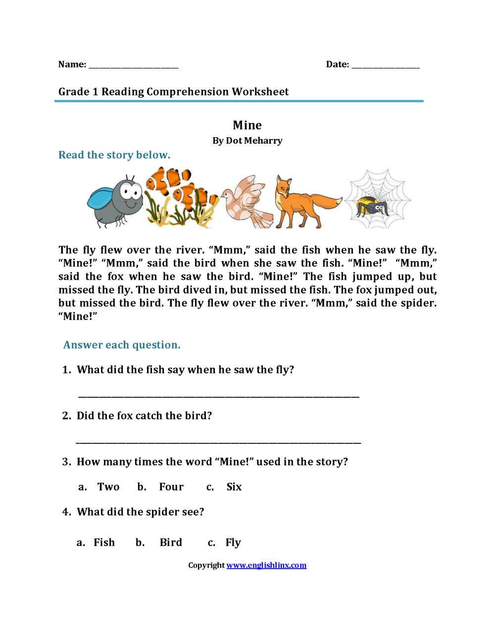 medium resolution of Reading Worksheets   First Grade Reading Worksheets