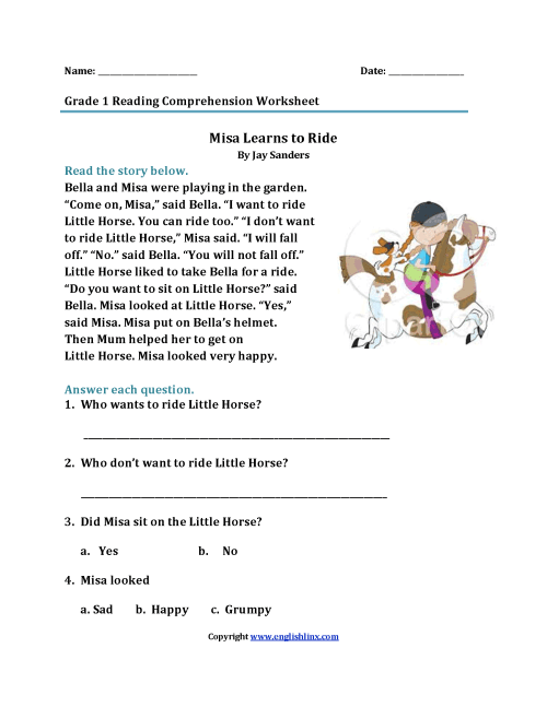 small resolution of Reading Worksheets   First Grade Reading Worksheets