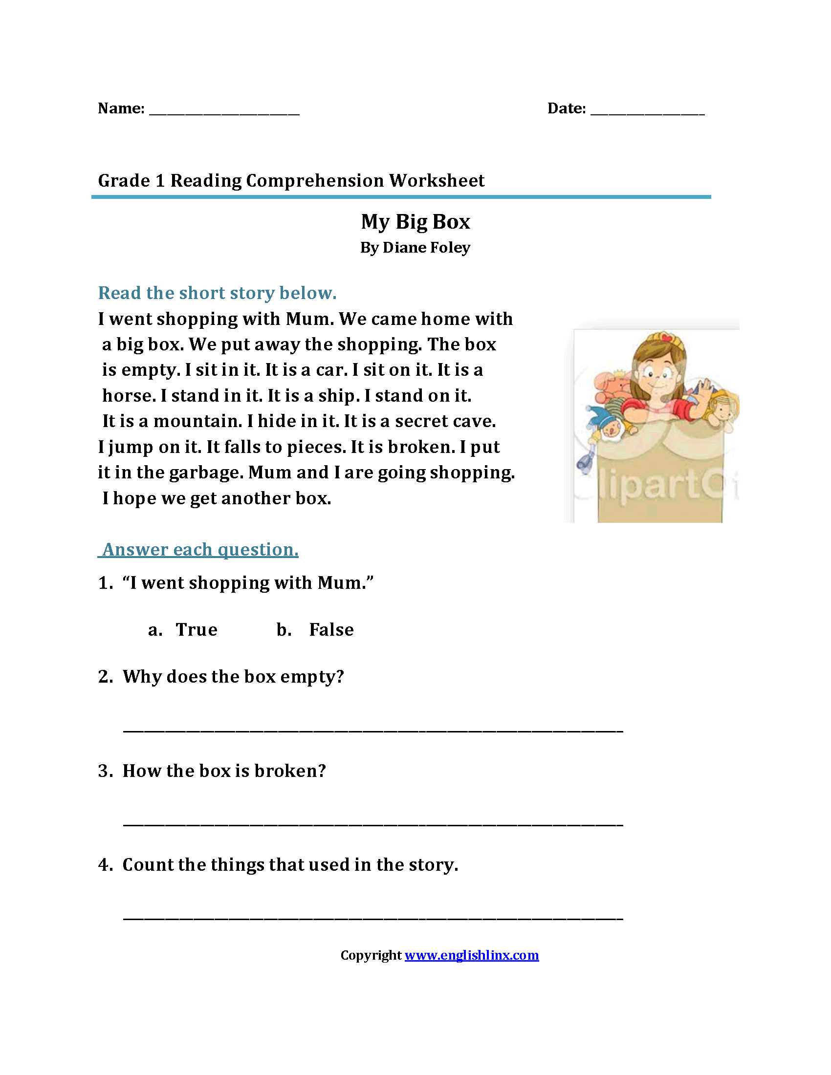 Worksheet First Grade Worksheets Reading Worksheet Fun