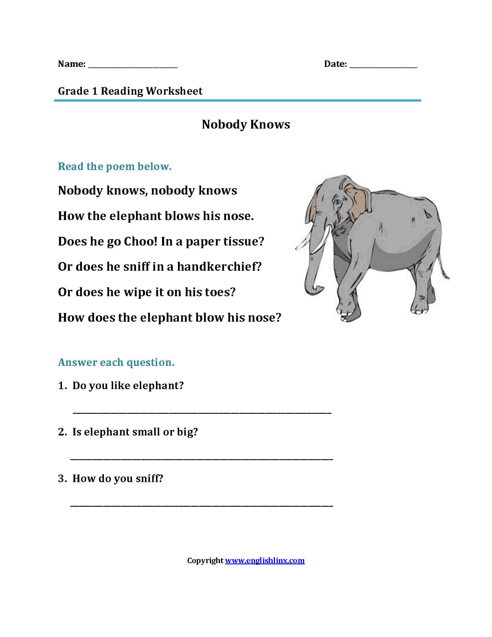 Printables Of Reading Exercises For Grade 1