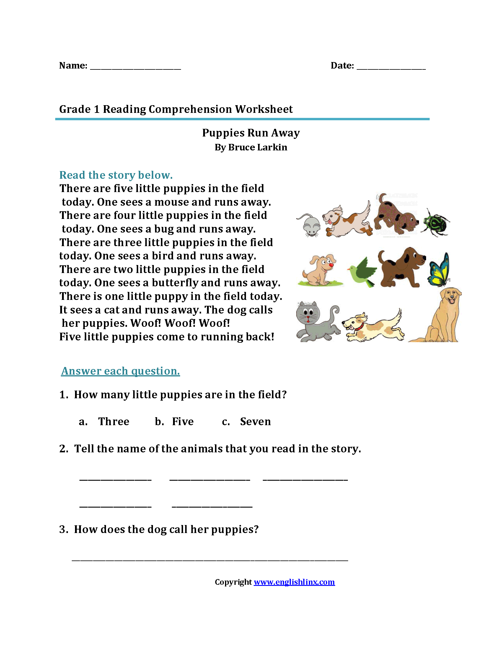 Worksheets Free Reading Comprehension Worksheets 1st