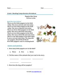 Free Reading Comprehension Worksheets 1st Grade - Kidz ...