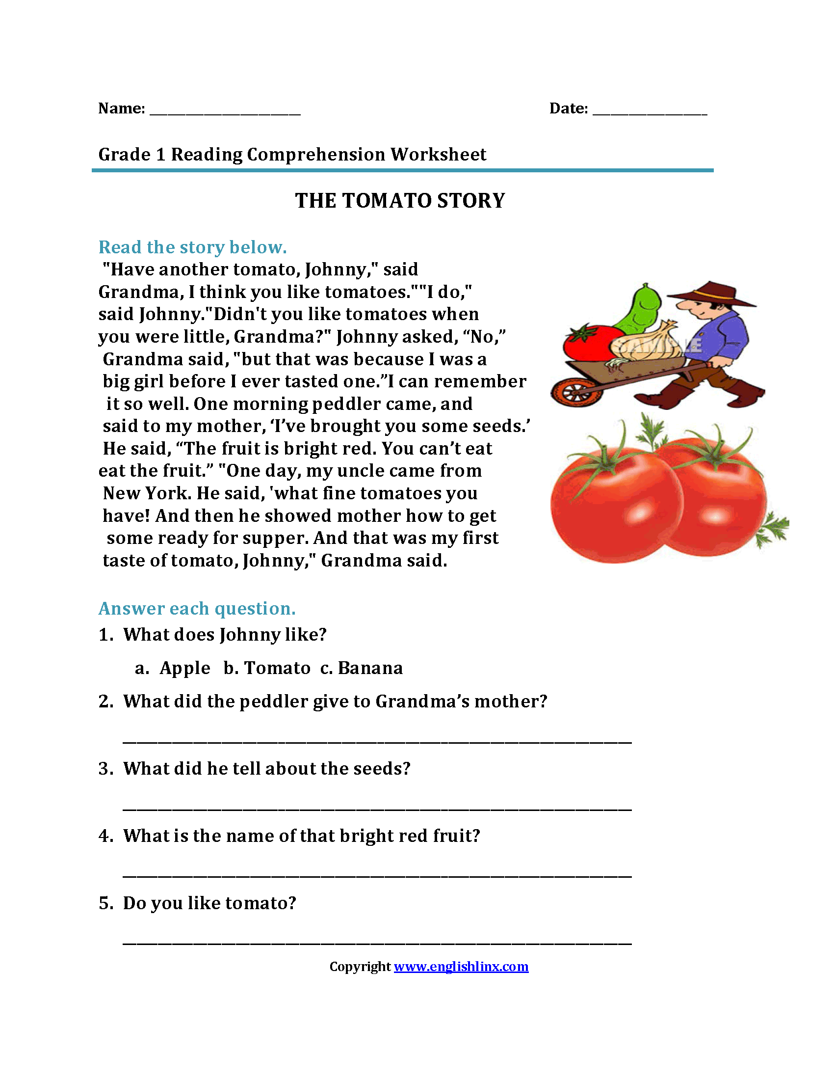 Free Nutrition Reading Comprehension Worksheets