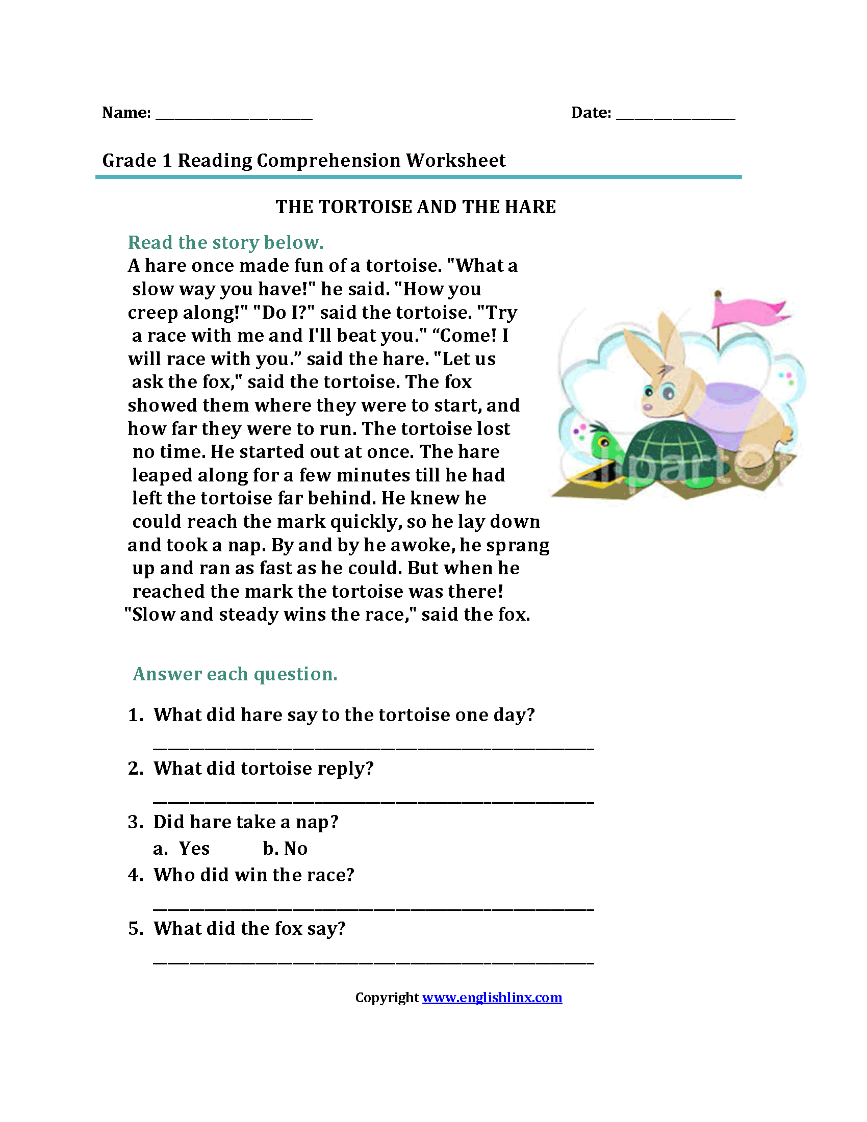 Turtle Worksheet For 2nd Grade