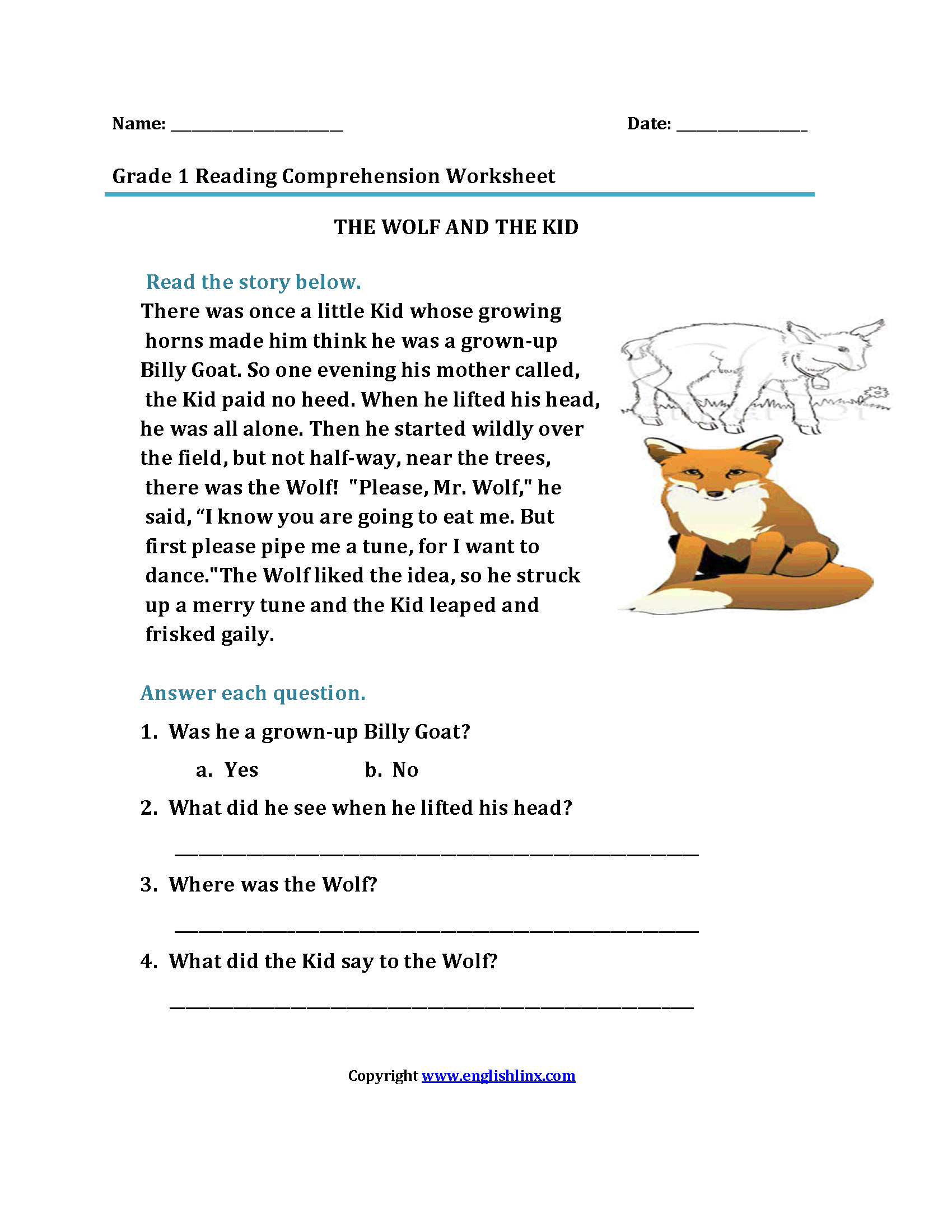 Top Free Printable First Grade Reading Comprehension