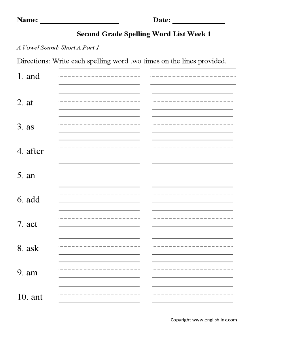medium resolution of Spelling Worksheets   Second Grade Spelling Words Worksheets