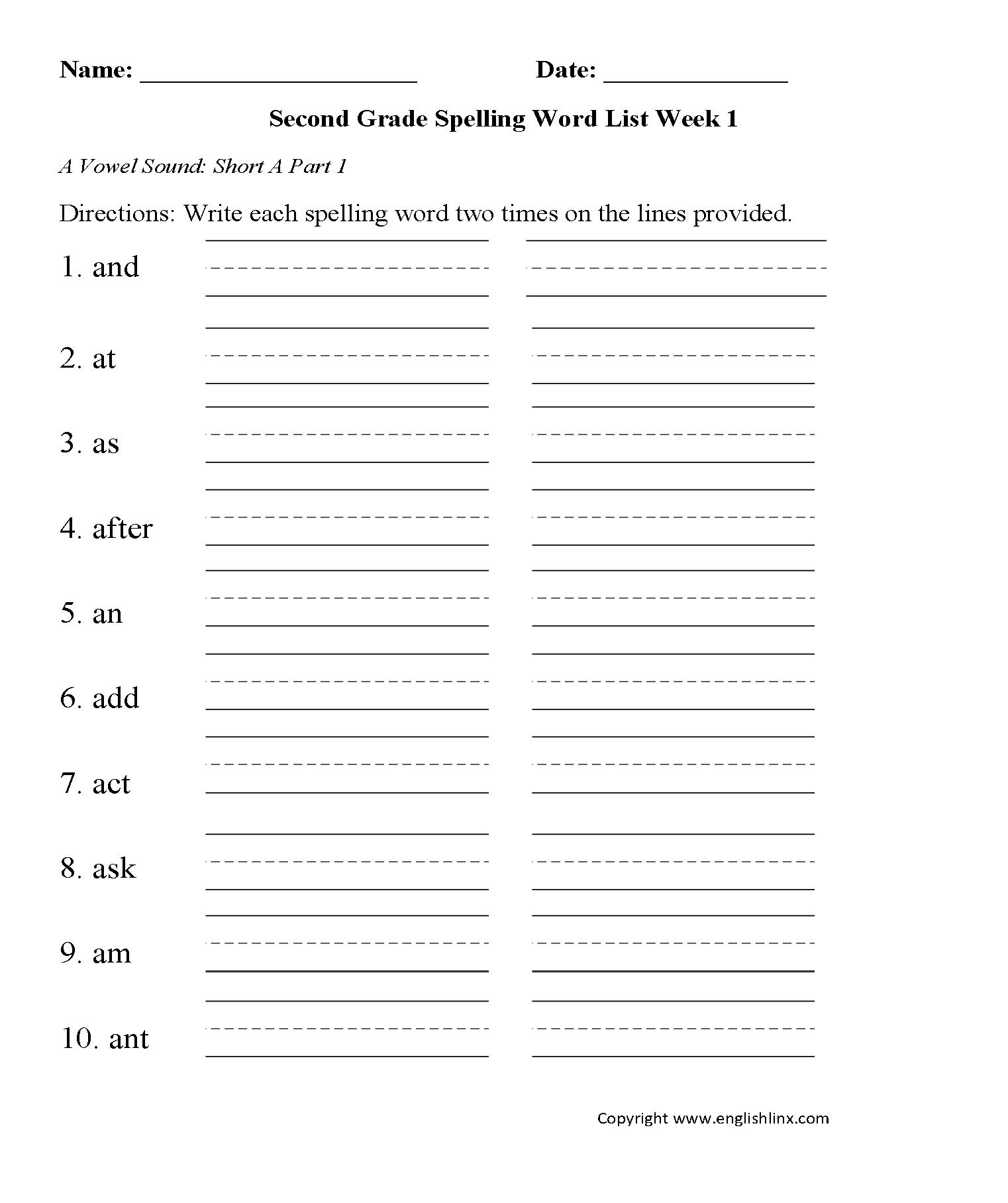 hight resolution of Spelling Worksheets   Second Grade Spelling Words Worksheets