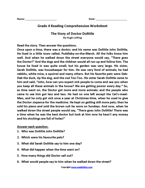 small resolution of Reading Worksheets   Fourth Grade Reading Worksheets
