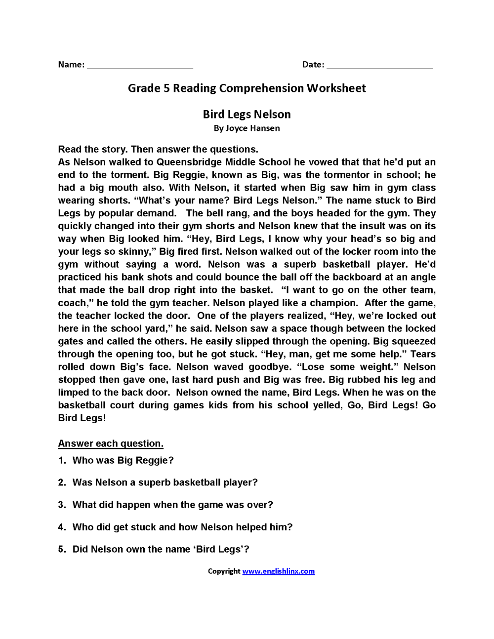 medium resolution of Reading Worksheets   Fifth Grade Reading Worksheets