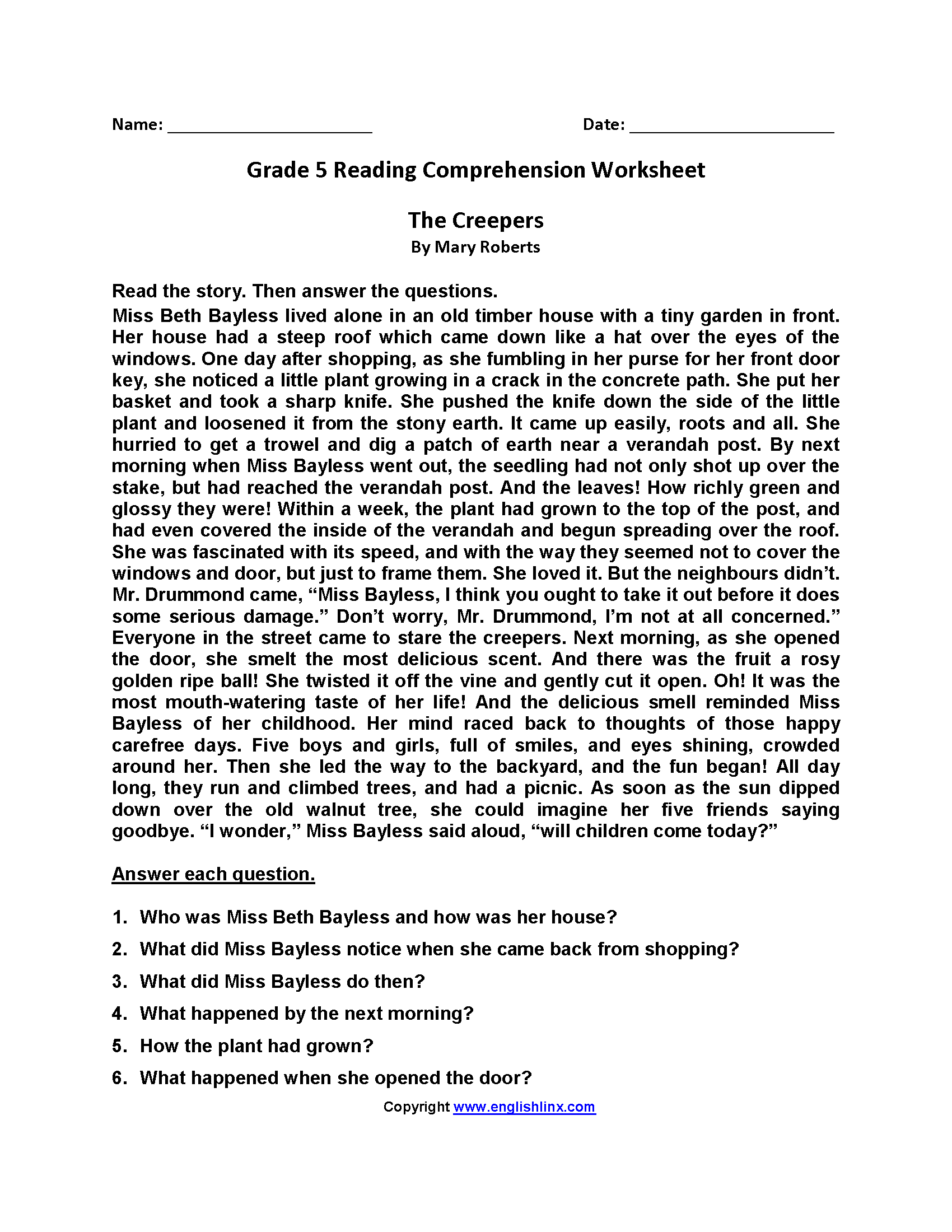 Comprehension Exercise For Grade 5 - Favorite Worksheet