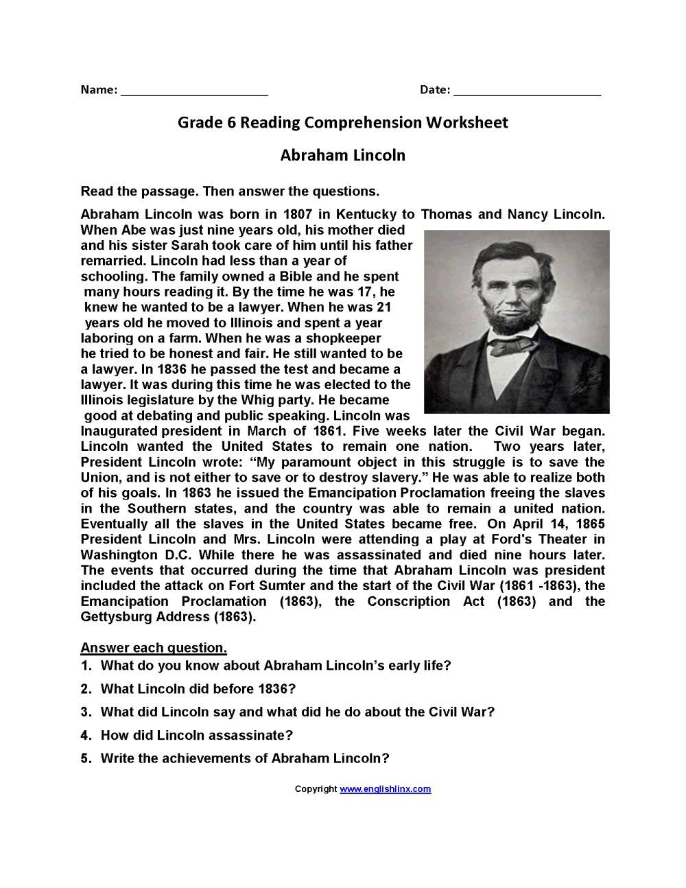 medium resolution of Reading Worksheets   Sixth Grade Reading Worksheets