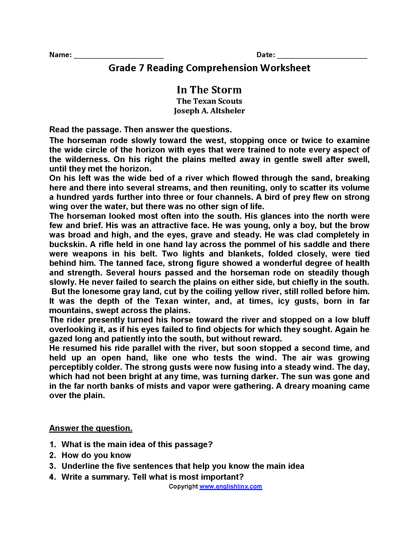 hight resolution of Reading Worksheets   Seventh Grade Reading Worksheets