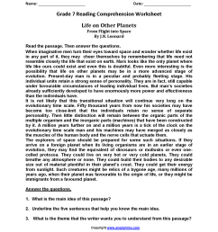 Reading Worksheets   Seventh Grade Reading Worksheets [ 2200 x 1700 Pixel ]