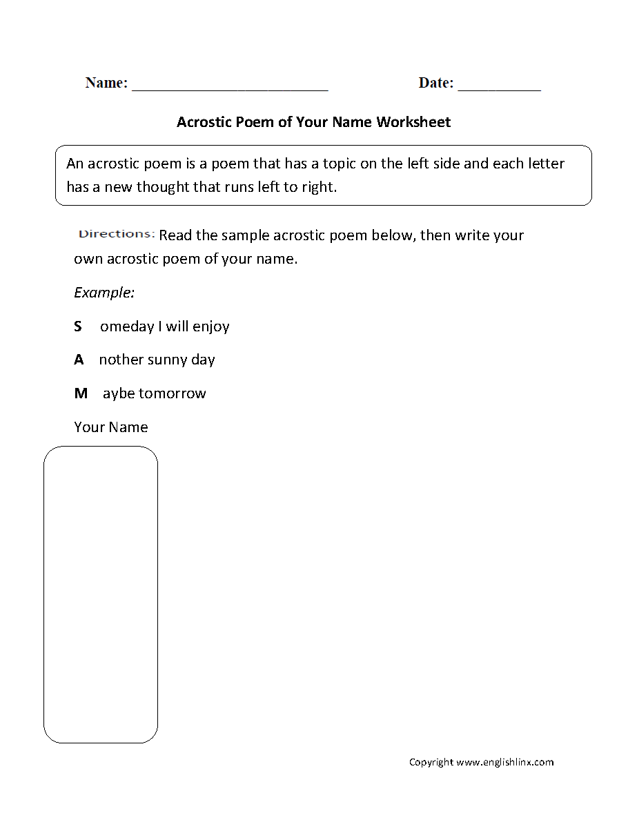hight resolution of Englishlinx.com   Poetry Worksheets