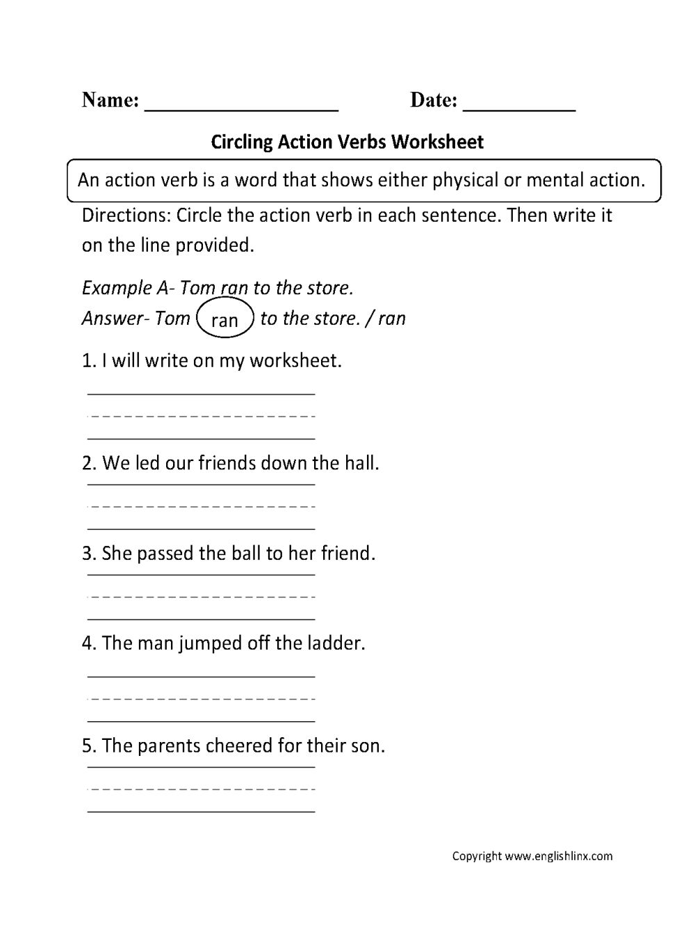 medium resolution of Verbs Worksheets   Action Verbs Worksheets